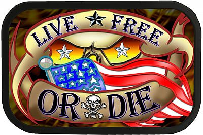 Live Free Or Die Tattoo Belt Buckle 4x2,75