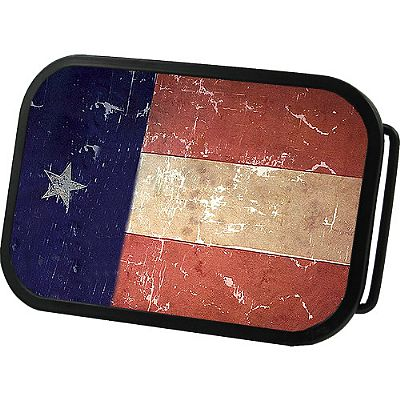 Texas State Grunge Flag Belt Buckle 4x2,75