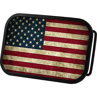 United States of America Grunge Flag Belt Buckle 4x2,75