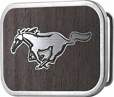 "Licensed Ford Mustang Wood Belt Buckle (3.5"" W x  2.5"" H)"