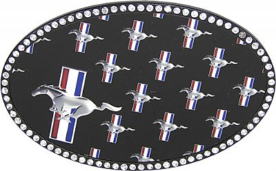 "Licensed Ford Mustang Rhinestone Belt Buckle (4.25"" W x  2.75"" H)"
