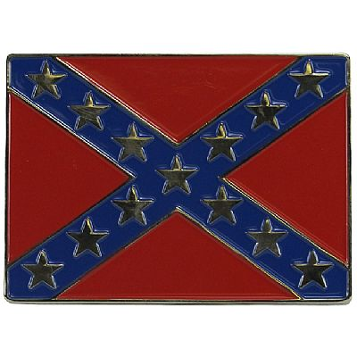 "Confederate Flag Belt Buckle 3""x2.25"""