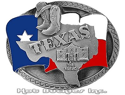 "Pewter Enameled Texas State Buckle (2.75"" W x 2.25"" H)"