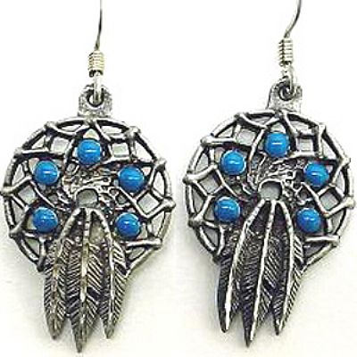Dreamcatcher Earrings with Turquoise Beads