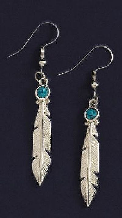 Pewter Feather with Turquoise