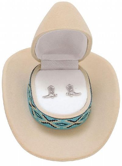 Boot Earrings in Cowboy Hat Gift Box *TAN*