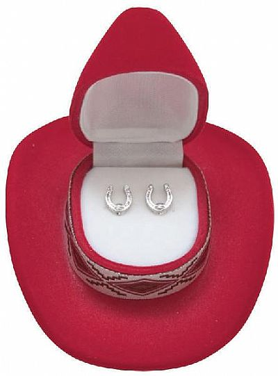 Horseshoe Earrings in Cowboy Hat Gift Box *RED*