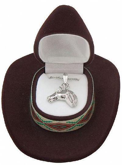 Horse Head Necklace in Cowboy Hat Gift Box *BROWN*