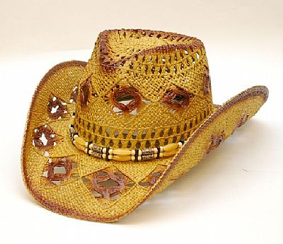 STRAW HAT / LADIES / DIAMON HOLES REDDISH TONE