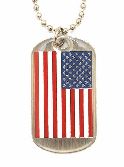 Dog Tag Necklace - USA Flag