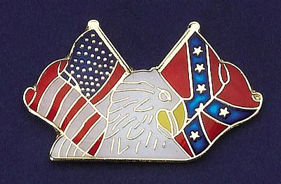 Tie Tack/Eagle with USA & Rebel Flags